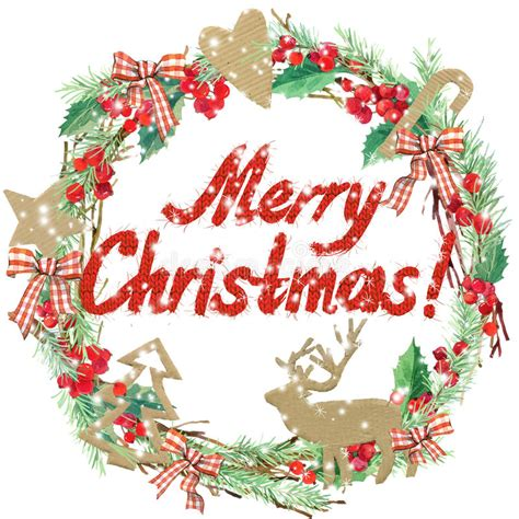 watercolor christmas wreath frame  merry christmas text stock illustration illustration