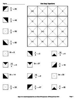 math equation coloring pages one step equations multiplication division coloring