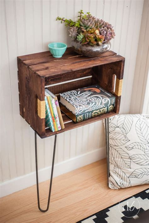 hometalk diy wood crate console table and shelf