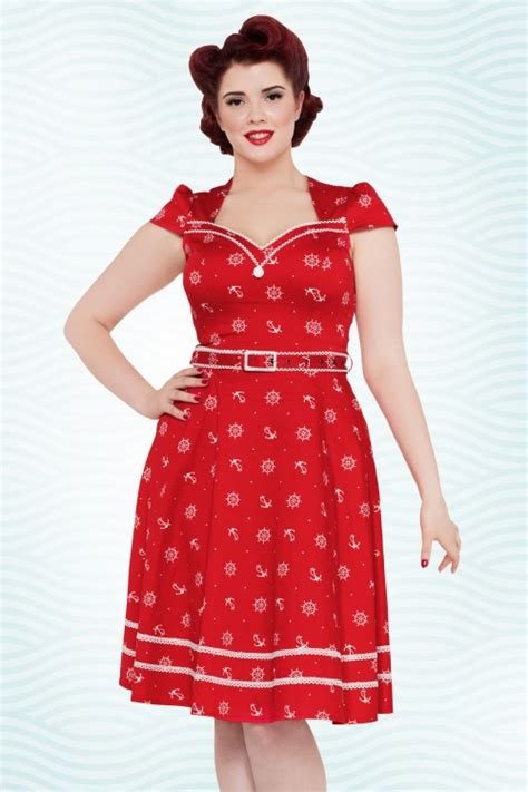 sailor swing dress 50s gwyneth sailor swing dress in red