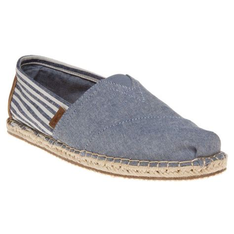Ready Stock Sepatu Canvas Slip On Flat Shoes Casual Wanita new mens toms blue chambray stripe textile shoes canvas