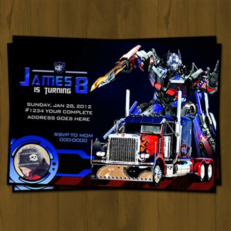 printable birthday cards transformers optimus prime transformers birthday invitation from