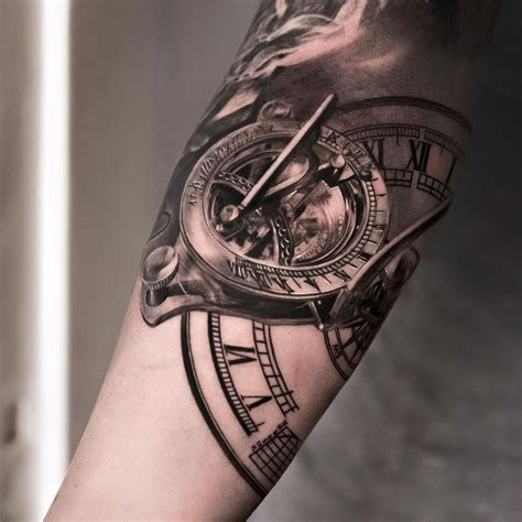 clock tattoo design 2013 guys arm tattoos for ideas models