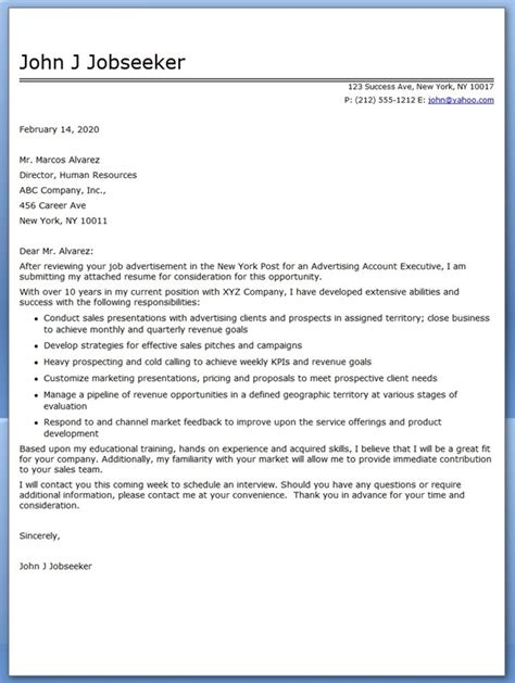 Cover Letter For Account Executive advertising account executive cover letter sle resume downloads