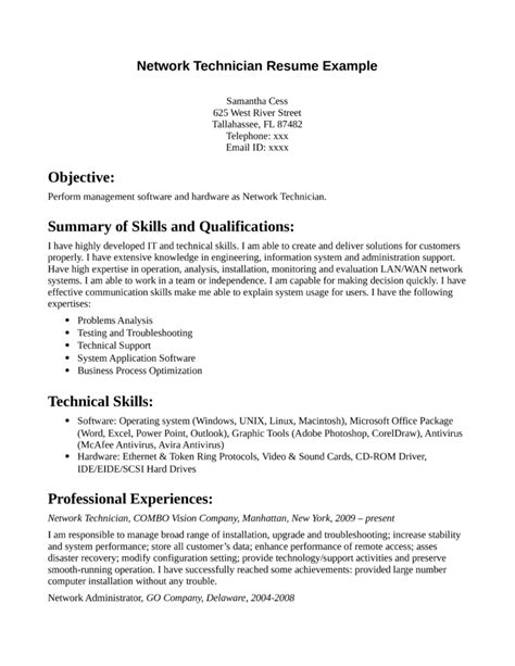Job Resume Sample Digital Field Service Technician Cover Letter X