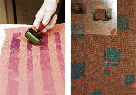 patterned brayer roller fabric printing with a brayer threads