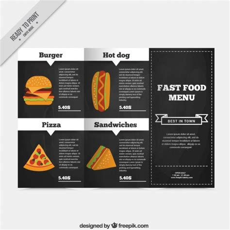 Fast Food Menu Template by Fast Food Menu Template Vector Free