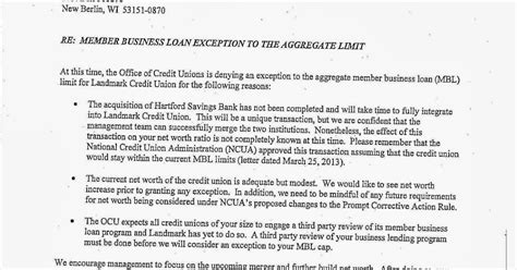 Loan Exception Letter Keith Leggett S Credit Union Of Landmark Mbl Exception Request