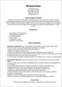 Consumer Safety Officer Sle Resume by Professional Construction Safety Officer Templates To Showcase Your Talent Myperfectresume