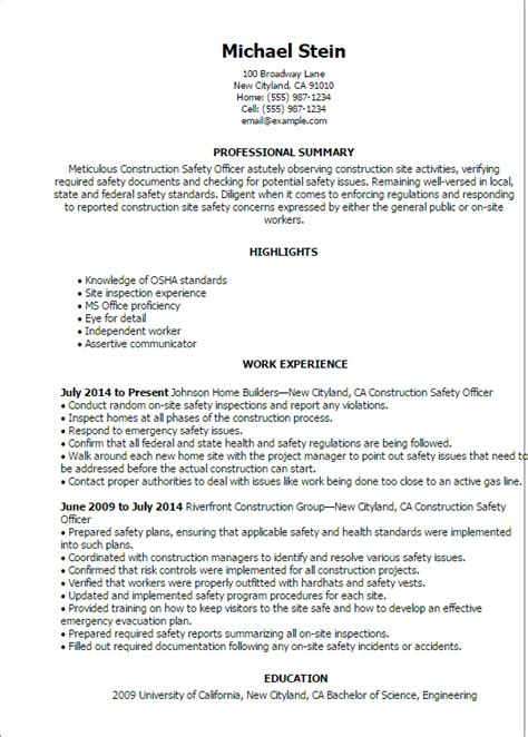 Site Safety Officer Sle Resume by Professional Construction Safety Officer Templates To Showcase Your Talent Myperfectresume