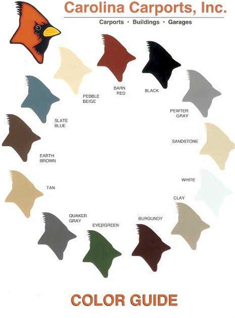 carolina colors carolinacarportsonline color chart