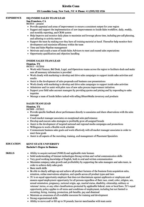 sales team lead resume sles velvet jobs