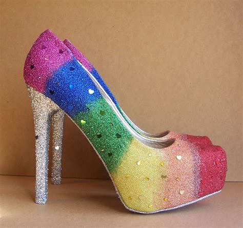 rainbow high heels items similar to pride wedding high heels on etsy