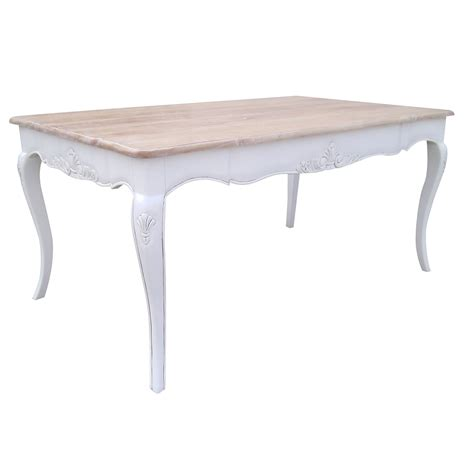 chateau white dining table with washed wood top