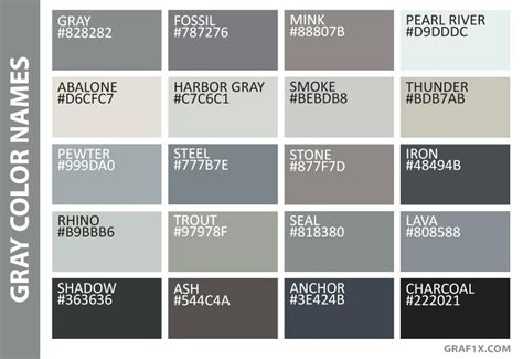 grey color code shades of grey color chart gray color names fifty shades