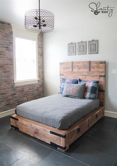 diy queen size platform bed diy full or queen size storage bed shanty 2 chic