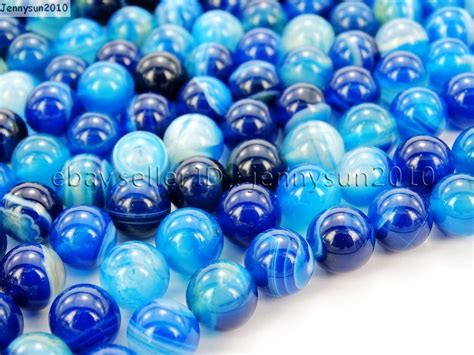 blue agate gemstone stripe 15 5