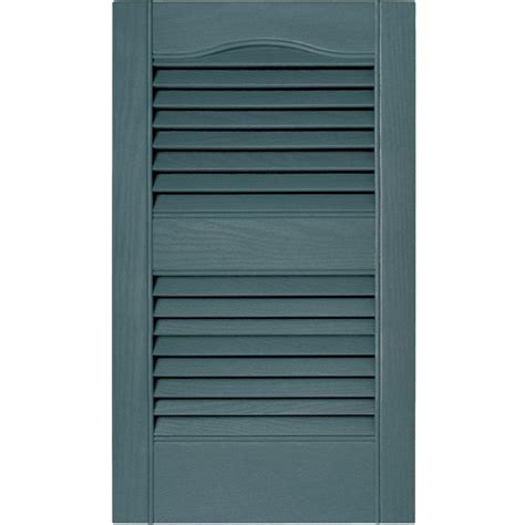 Louvered Doors Exterior Builders Edge 15 In X 52 In Louvered Vinyl Exterior Shutters Pair In 004 Wedgewood Blue