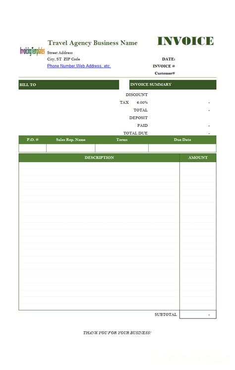 travel receipt template travel service bill format