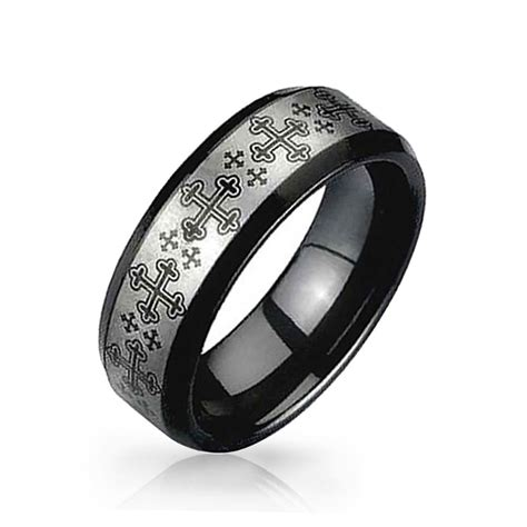 bling jewelry cross black and silver tungsten