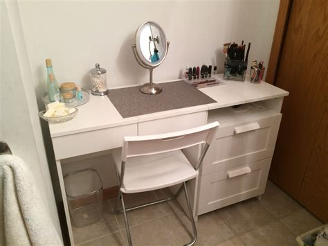 Bathroom Ideas Vanity With Dressing Table Small Mirror White Makeup Cabinet And Larger Knowhunger