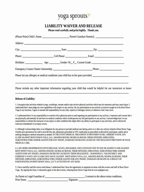 release of liability statement sle resume exles teenager
