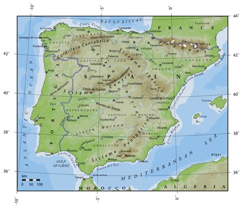 map of spain and portugal detailed physical map of portugal and spain portugal and spain detailed physical map vidiani