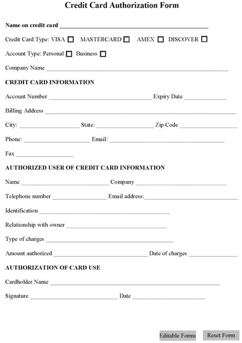 credit card authorization form template blank check microsoft word autos weblog