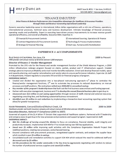 finance resume exles director of finance resume exle