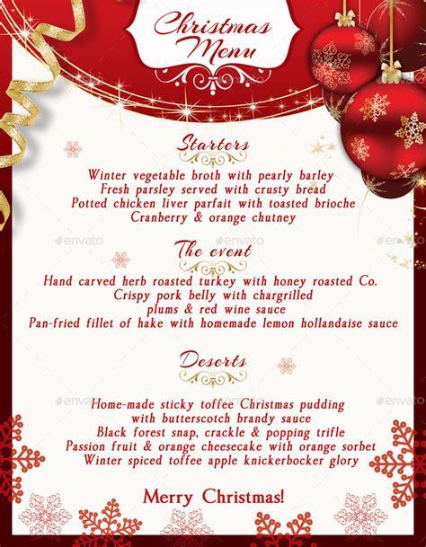 printable xmas menu christmas menu template by oloreon graphicriver