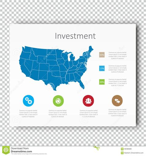 map layout and design infographic investment usa map presentation template