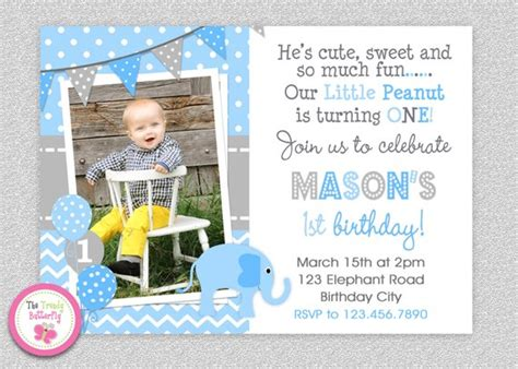 printable baby boy 1st birthday invitations elephant birthday invitation elephant 1st birthday invitation printable boys or by