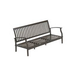 shop allen roth gatewood brown aluminum slat seat patio sofa at lowes