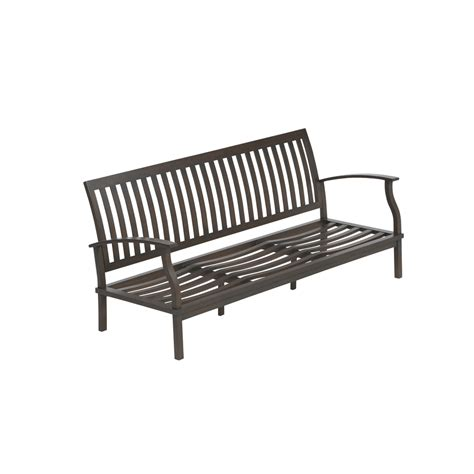 shop allen roth gatewood brown aluminum slat seat patio
