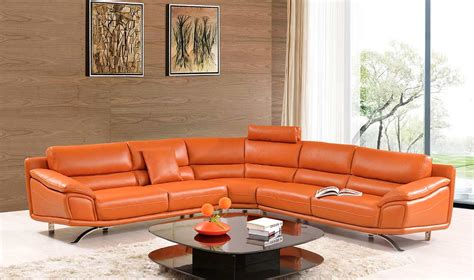 modern orange couch orange leather sectional sofa orange sectional sofa set