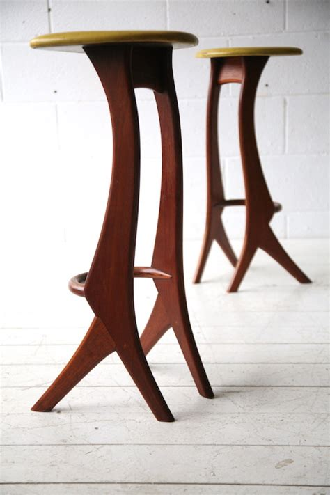 Vintage 1950s Bar Stools by Vintage 1950s Solid Teak Bar Stools By Reyway And