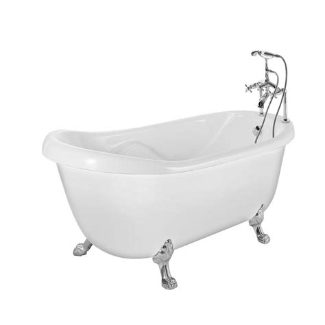 bathtub with feet aston 5 feet 6 inch acrylic clawfoot slipper bathtub with tub mount faucet in white