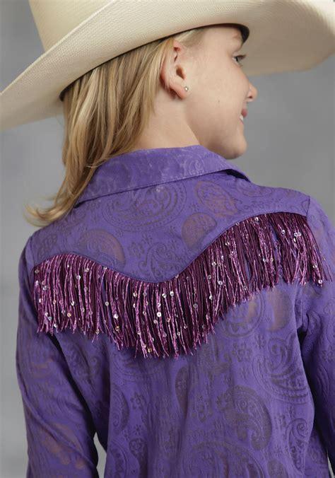 purple style ls fringed shirts