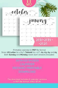 printable calendar color  black  white versions  printables  printable