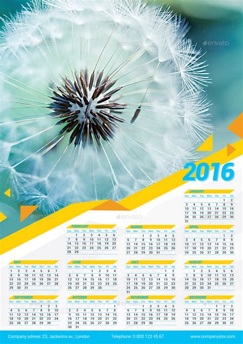 2016 poster calendar template by design4you graphicriver