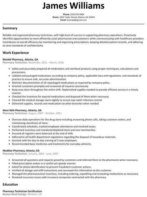 pharmacy technician resume examples resume for study