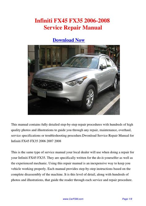 service manual how to change a 2008 infiniti fx dipped beam replacement 2008 infiniti fx35 infiniti fx45 fx35 2006 2008 repair manual by gong dang issuu