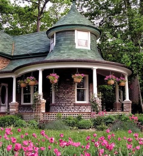 Cottage With Turret by Cottage Wrap Around Porch Porch Exterior