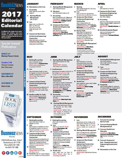 Editorial Calendar Editorial Calendar Island Business News