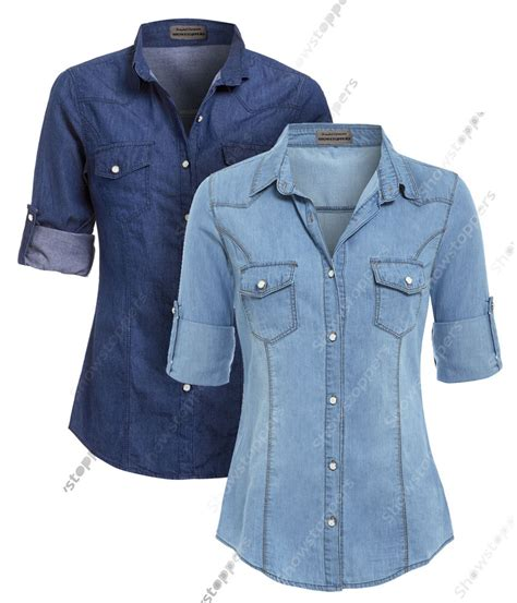 Shirts C 10 13 14 by New Womens Denim Shirt Classic Fitted Shirts Size 8