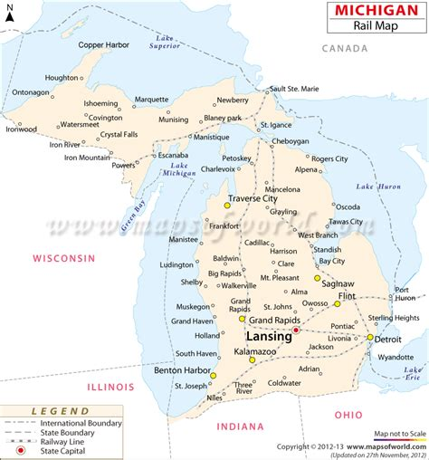 michigan state usa map michigan railroad map michigan rail map