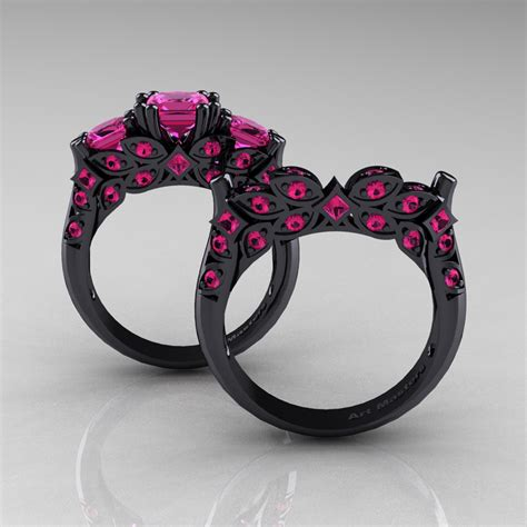 designer classic 14k black gold three princess pink