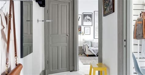 Accent Pieces For Entryway Grey White Hallway With Bright Yellow Stool As Accent