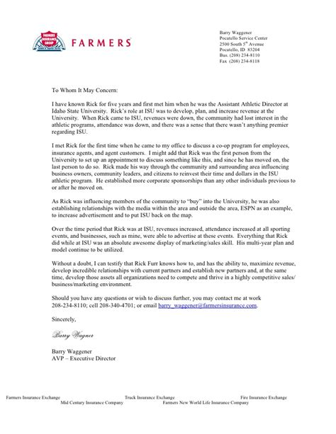 Business Letter For Insurance Farmers Insurance Letter
