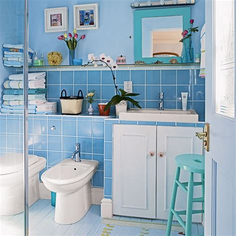 Blue Bathroom Fixtures Blue Bathroom With White Fixtures Decorating Housetohome Co Uk